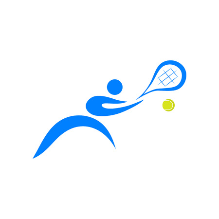 Tennis player with racket and ball; logo, icon design vector illustration