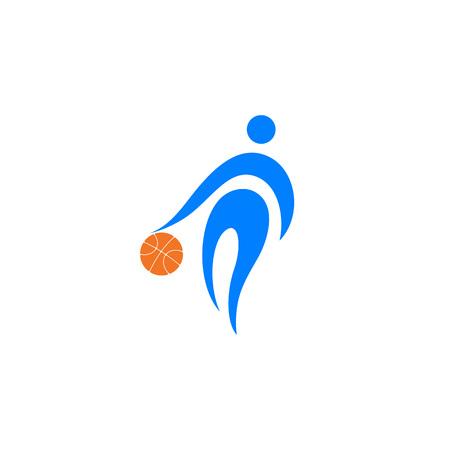Basketball player with  ball; logo, icon design vector illustration