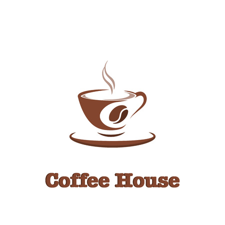 Coffee, hot drink logo design template for coffee house, restaurant menu, banner Banco de Imagens - 98205251