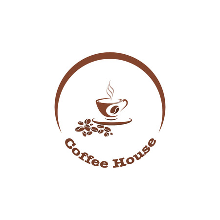 Coffee cup, hot drink logo design template for coffee house, restaurant menu, banner