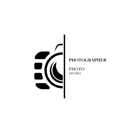 Abstract camera logo vector design template for professional photographer or photo studio  イラスト・ベクター素材