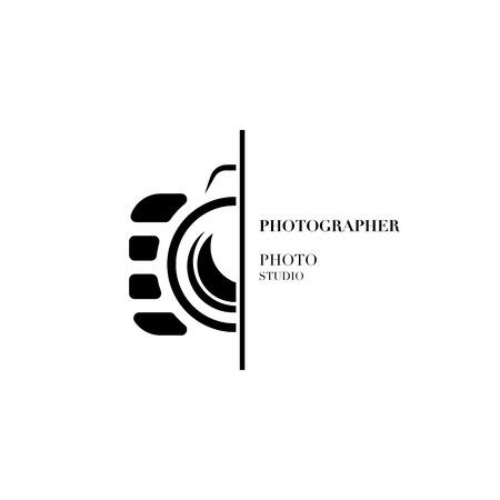 Abstract camera logo vector design template for professional photographer or photo studio Stock Illustratie