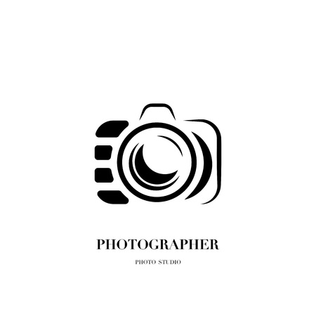 Abstract camera logo vector design template for professional photographer or photo studio Illustration