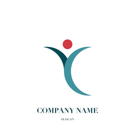 Happy fun people, healthy life logo, icon design