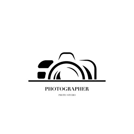 Abstract camera logo vector design template for professional photographer or photo studio Çizim