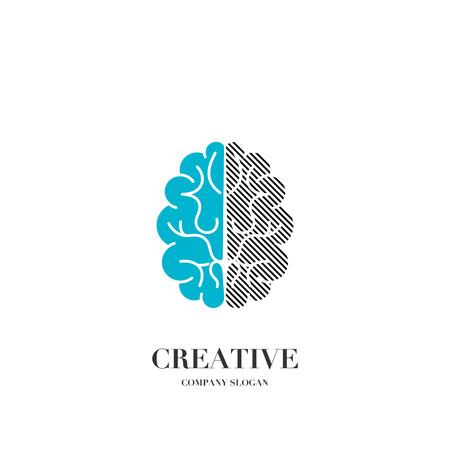 Abstract brain, creative mind logo vector design template