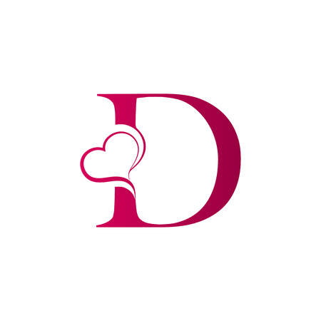 D letter logo with heart icon, valentines day concept