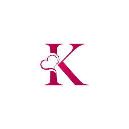 K letter logo with heart icon, valentines day concept