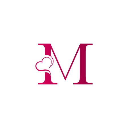 M letter logo with heart icon, valentines day concept Ilustracja