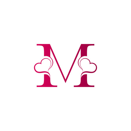 M letter logo with heart icon, valentines day concept Illustration