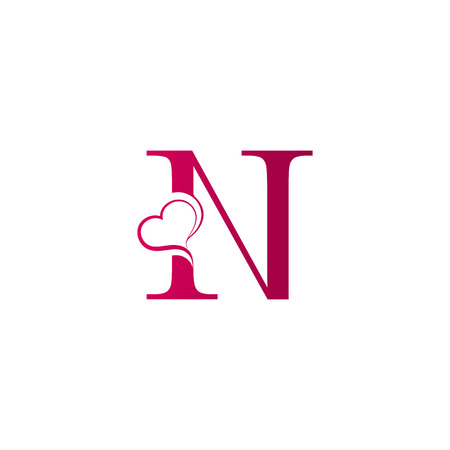 N letter logo with heart icon, valentines day concept Banque d'images - 98300970