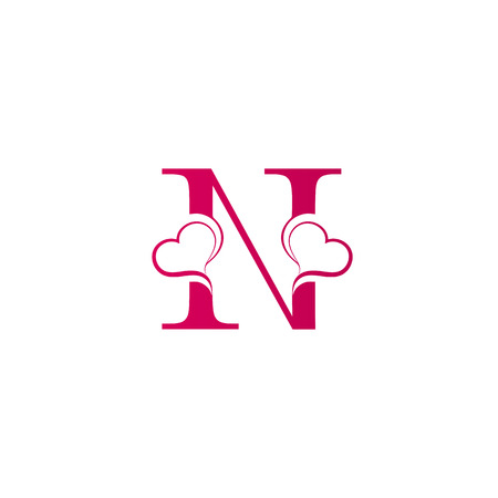 N letter logo with heart icon, valentines day concept Illustration