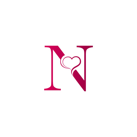N letter logo with heart icon, valentines day concept Vectores