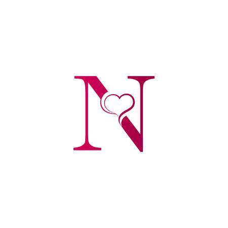 Logo de lettre N avec l'icône du c?ur, concept de la Saint-Valentin