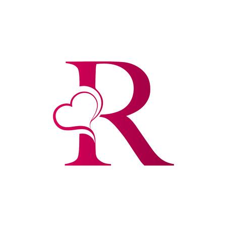 Logo litery R z ikoną serca, koncepcja walentynki