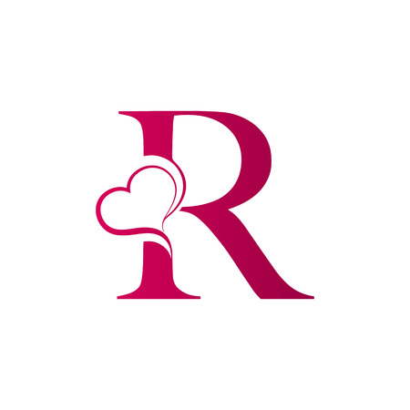 R letter logo with heart icon, valentines day concept 版權商用圖片 - 98301049
