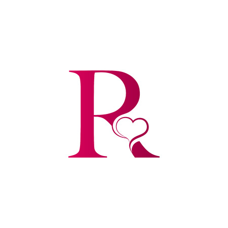 R Letter Logo With Heart Icon Valentines Day Concept