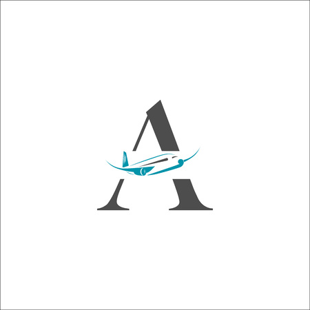 Airplane vector design element with A letter, logo, travel agency concept