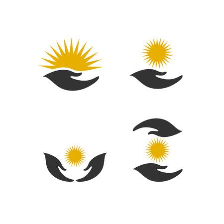 Set of hands with sun vector design elements, energy care concept Иллюстрация
