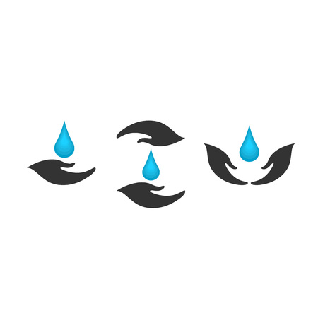 Hand with water vector design element, save water concept