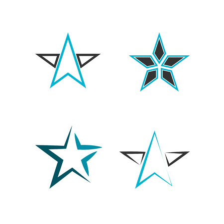 Set of Simple stars with black and blue shades icon, vector design element