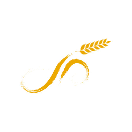 Simple wheat like a microphone design illustration for bakery Vettoriali