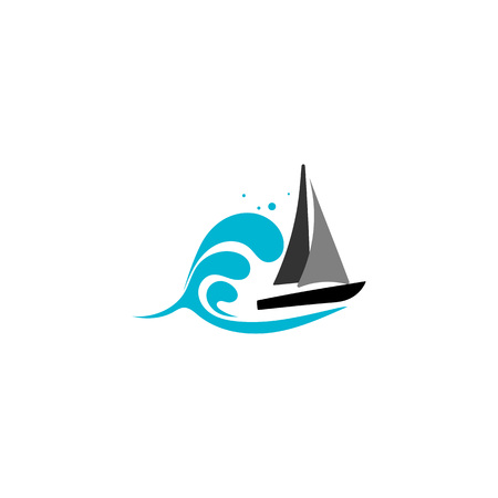 Yacht vector illustration with water wave on the backdrop travel agency concept