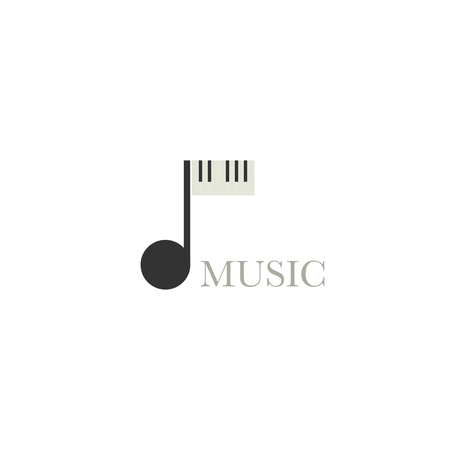 Music logo vector design element with musical note and piano keys Illusztráció