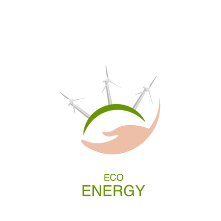 Eco energy concept with hand, windmill icons, vector design elements Ilustração