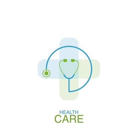 Health care logo vector design element with phonendoscope icon
