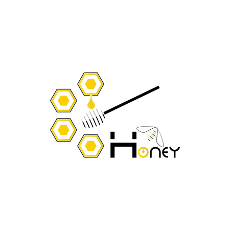 Honey production technology concept with inscription honey, honeycomb and bee