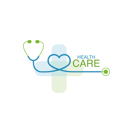 Health care logo vector design element with phonendoscope icon