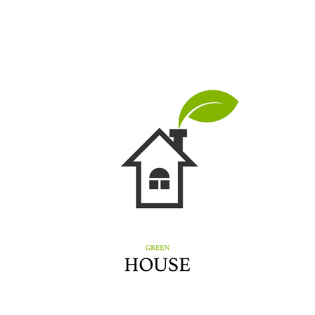 Green house concept with home and green leaf logo, vector design element Illusztráció
