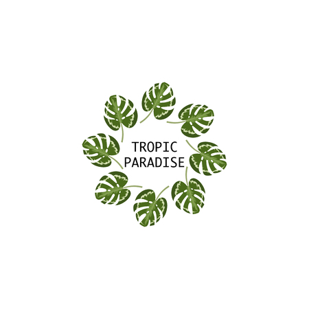 Tropical leaf vector design elements. Watercolor style