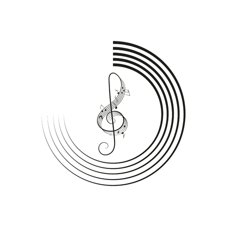 Music logo vector design element with musical notes