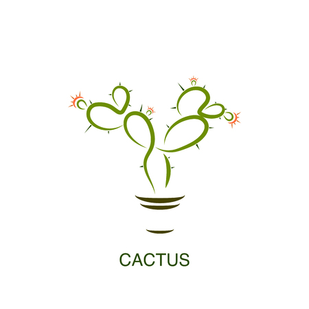 Simple abstract cactus logo, icon vector design element