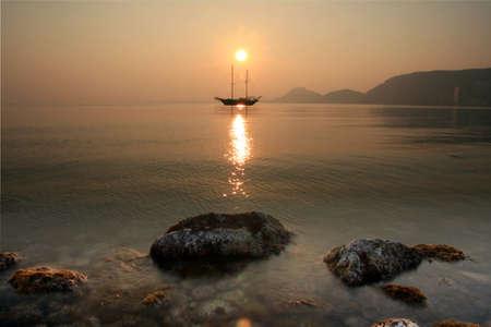 bollard: Gulet anchored in Alicante Bay, Spain