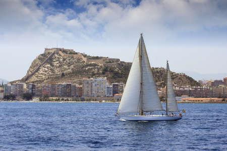 ketch: Ketch sailing in Alicante Bay, Spain