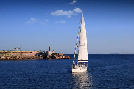 Sailing boat in port photo