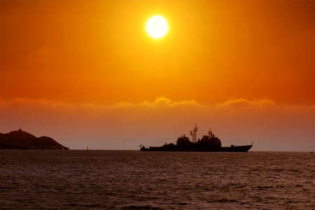 USA destroyer anchored at the sunset Stock Photo - 15081741