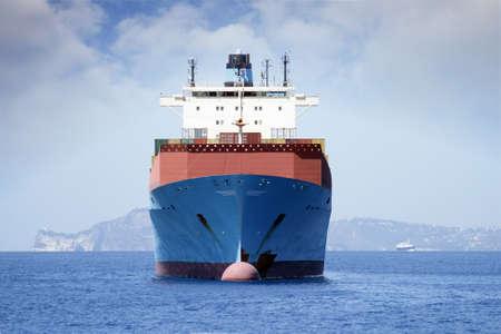 ocean liner: Container carrier merchant ship anchored  forward