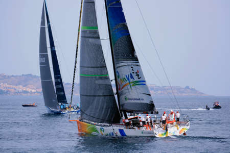Sailing boats in the Volvo Ocean Race