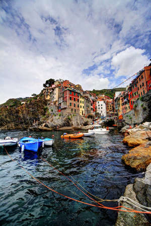 Riomaggiore, port and town Stock Photo - 15438813
