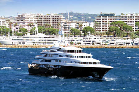 Luxury cruise anchored in Cannes Bay photo
