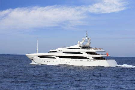 luxury yacht: Luxury yacht sailing in open sea
