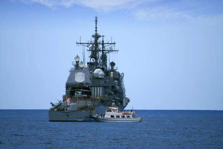 coastguard: United States destroyer anchored in Benidorm; Spain  Editorial