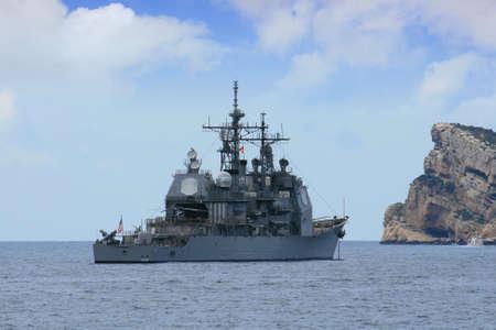 destroyer: United States destroyer anchored in Benidorm; Spain  Editorial