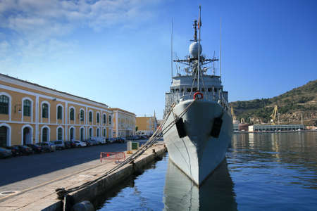 Frigate tied up in Cartagena Naval base; Spain Stock Photo - 15852595
