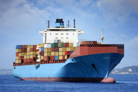 containership: Container ship transport anchored in Naples  Stock Photo