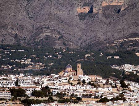 sailingboat: Town of Altea in Benidorm Bay; Spain  Stock Photo